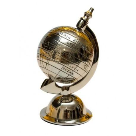 Metalowy globus (srebrny) -17 cm