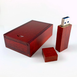 USB WOOD + BOX - DARK - 64 GB