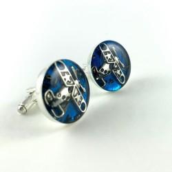 Spinki do mankietów - SPINKI - AVIATOR SILVER (BLUE)