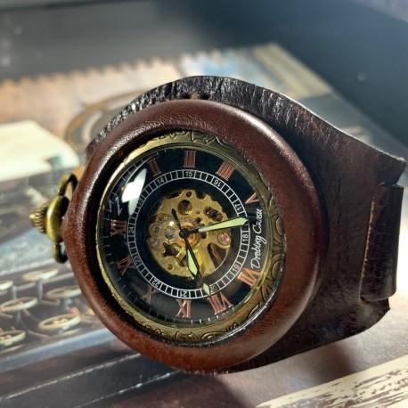 Zegarek kieszonkowy, busola - DC 046 - DARK CHOCOLATE - Elegancja w brązie